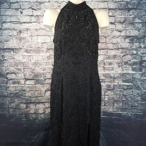 Adrianna Papell Black Beaded Evening Gown Size 12